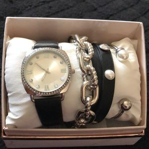 Black & Silver Watch & Bracelet Gift Set